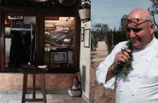 Pietro Zito nel suo orto, con un dettaglio del suo locale, gli Antichi sapori a Montegrosso d'Andria in Puglia