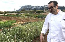 Pep Romany, patron chef at Pont Secin Denia, Spain, in front of the kitchen garden he started two years ago