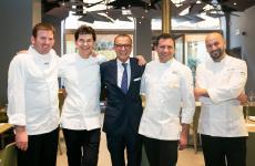 Quattro chef, e un barman, tutti provenienti dal mondo Belmond, gruppo che opera nel campo dell'h�tellerie di lusso. Da sinistra: Fernando Coelho, Davide Bisetto,Walter Bolzonella,Mimmo di RaffaeleeRoberto Toro. Tutte le foto sono di OnStageStudio