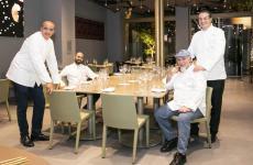 Foto di gruppo nella sala ristorante di Identità Golose Milano per, da sinistra: Pino Cuttaia, Gioacchino Gaglio, Angelo Treno e Damiano Ferraro(foto On Stage Studio)