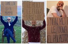 Niko Romito con alcuni dei cartelli che hanno caratterizzato la sua comunicazione social in questi giorni
