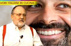 Niko Romito sorridente nel servizio che lo ha visto protagonista a Striscia la notizia. In primo piano Paolo Marchi