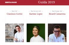 A screenshot with some of the people awarded by the Guida ai Ristoranti d'Italia, Europa e Mondo di Identità Golose 2019, Identità Golose's guide to restaurants in Italy, Europe and the rest of the world. As of ten days ago, it's also available in English. Click here to read the reviews