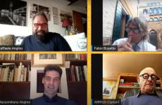 From the top left corner, clockwise: Raffaele Alajmo, journalist Fabio Busetto, Arrigo Cipriani an Massimiliano Alajmo, the participants of the live show on Instagram that you can watch again here on Youtube