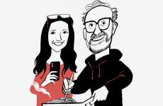 Massimo Bottura with daughter Alexa depicted by João Fazenda in April on the cover of New Yorker. Their web show Kitchen Quarantine won Webby Awards; video maker Alexa got the idea, and it went online every day at 8 pm on the chef's Instagram account