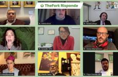 I protagonisti del webinar TheFork risponde. Dall'alto e da sinistra a destra: Ceroni, Arizzi, Sbraga, Collini, Re, Provenzani, Bowerman, Sadler e Saporito