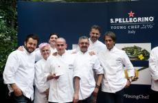 Alessandro Salvatore Rapisarda with the jury: from left to right Alessandro Negrini, Cristina Bowerman, Fabio Pisani, Mauro Uliassi, Andrea Berton e Davide Oldani