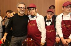 Massimo Bottura with his son Charlie, at Refettorio Ambrosiano in Milan where he presented Il Tortellante, the fresh-pasta workshop where autistic kids make Modenese tortellini and roll out tagliatelle with the help of rezdore. They already make more than 10 kg per day. To order some info@tortellante.it