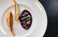 Triglia, gazpacho di cavolo cappuccio viola, agli nero, cedro candito: il piatto dell'autunno di Luca Tomasicchio